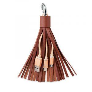 Llavero con tiras de cuero y 3 cables USB