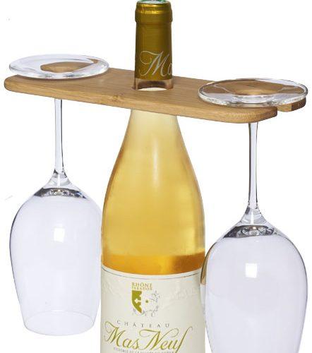 Tabla Vino y Copas bambú