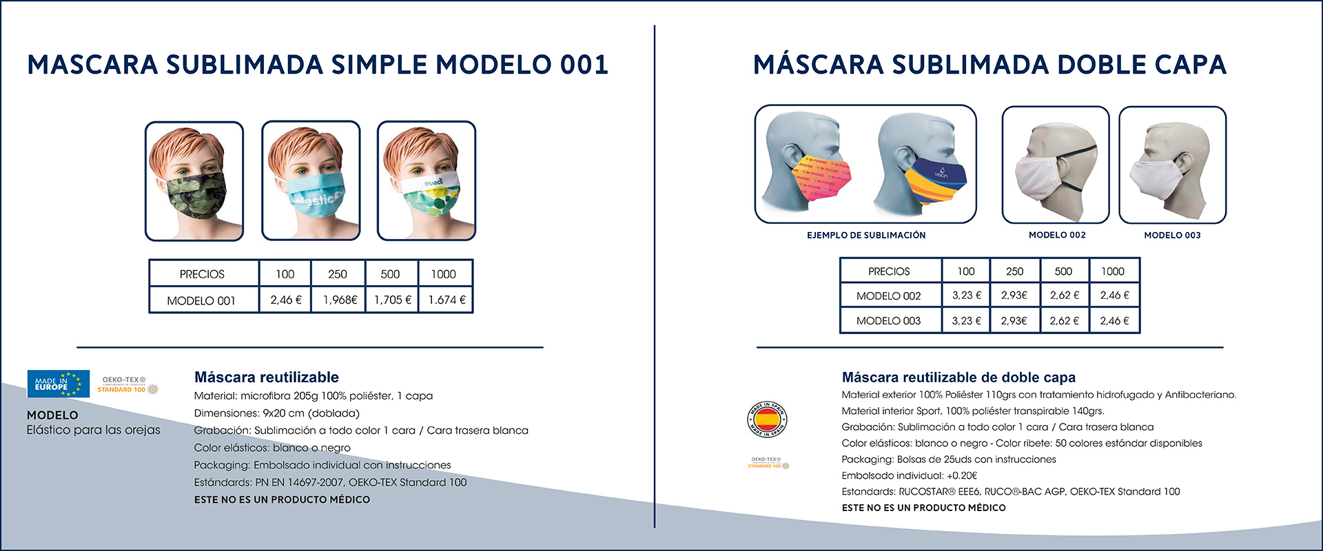 Mascarillas sublimadas - merchandising Goiria SL