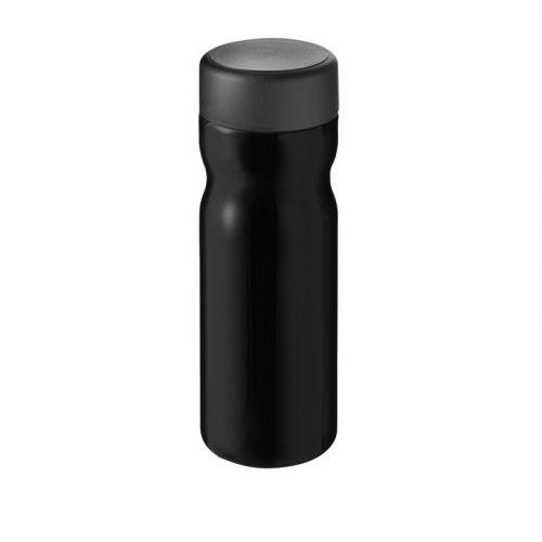 H2O Base Bidón deportivo con tapa de rosca de 650 ml (Modelo negro)