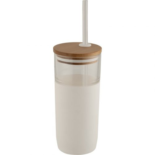"""Vaso de vidrio de 600 ml con tapa de bambú """"Arlo"""""""
