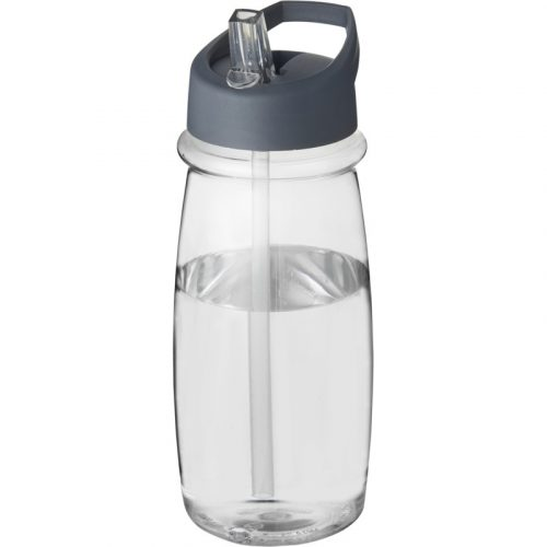 H2O Pulse Bidón deportivo con tapa con boquilla de 600 ml (modelo transparente)