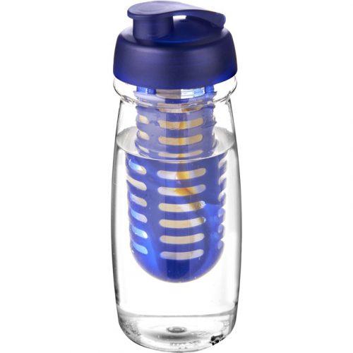 H2O Pulse® Bidón deportivo e infusor con Tapa Flip de 600 ml (modelo transparente)